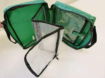 Green First Aid Bag; With Handles; 3 clear fold out compartments.