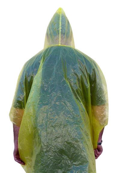 Emergency Poncho, Hooded,Yellow Plastic