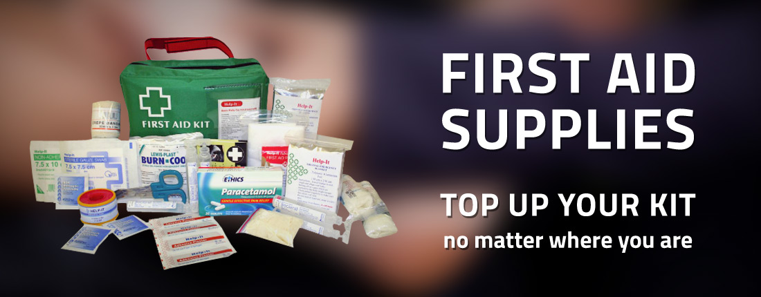 First Aid Supplies. Top up your kit no matter where you are.